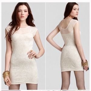 Free People Cream & Gold Body Con Dress